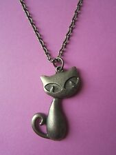 Bronze Tone Vintage Look Wide Eyed Kitty Cat Necklace Brand New