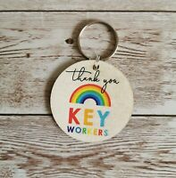 Thank You All Key Workers Rainbow Shop Worker NHS Nurses Wooden Keyrings Gifts