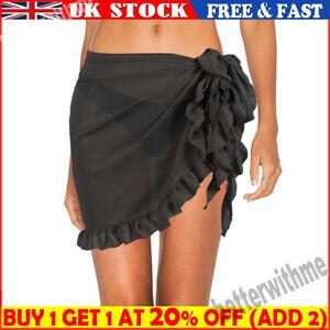 Women Bikini Cover Up Beach Swimwear Dress Sheer Wrap Skirt Ruffle Sarong