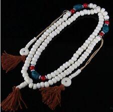 "Long Tibetan Turquoise Red Coral 108 Yak Bone Prayer Beads Mala Necklace -34"""