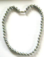 HONORA  Cultered Pearl Necklace 14 Carat White Gold  Clasp Silver Blue/Grey