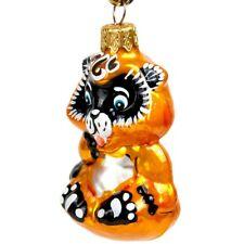 "3.5"" Baby Raccoon Shaped Christmas New Year Glass Ornament Handmade Figurine"