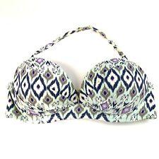 Victorias Secret Bikini Top 32C Angel Tribal Aztec Padded Pushup Blue Purple 78V