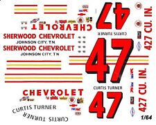 #47 Curtis Turner Sherwood Chevrolet 1966 1/64th HO Scale Slot Car Decals