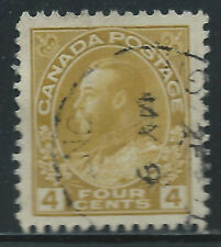 Canada #110c(9) 1922 4 cent golden yellow KING GEORGE V Used CV$15.00