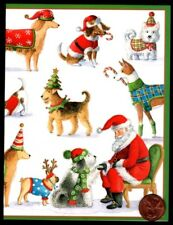 Santa Claus Greeting Dogs Puppies Mutts Hats   - Christmas Greeting Card NEW
