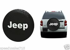 """Black Jeep Logo Spare Tire Cover Wheel R15 27""""-30"""" New Free Shipping USA"""