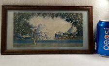 Vtg SMALL 1930's Maxfield Parrish? Atkinson? Woman Outstretched Arms Print Frame