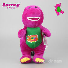 cute Barney The Dinosaur Sing I LOVE YOU Song Purple Plush kids Toy Doll 12''