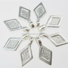 13261 25PCS Silver Tone Glue on Bails Setting Rhombus Bails For Necklace Charms