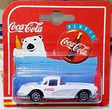 Coca-Cola Radio Line 1958 Chevrolet Corvette White 1:64 Scale Diecast Majorette
