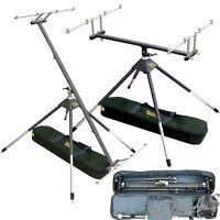 Delta Fishing 4 Bein Rod Pod Aluminium 360° Drehbar 3 - 4 Ruten Rutenständer Kva