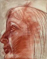 Brigitte Tietze Berlin Expressives Ölgemälde Portrait Frau 45 x 35,5 cm