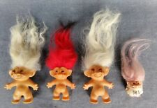 4 Vintage Troll Dolls with Clothes & Accessories