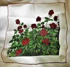 """Gorgeous Franshaw Red Rose Vintage Handkerchief 12"""" x 12 1/2"""" Hand Rolled Nice!"""