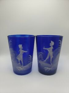 2 MARY GREGORY Style Cobalt Blue Blown Glass Cups, Candle Holders Handpainted