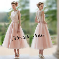 Eleght Prom Party Dress Lace Tea Length Tulle Formal Evening Bridesmaid Dresses