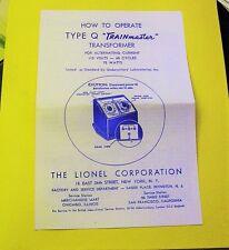 LIONEL Q TRAINMASTER 75 WATT TRANSFORMER INSTRUCTION SHEET MINT LOOK!