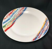 """Tabletops Gallery Shadow 10-3/4"""" Round Dinner Plate Rainbow Retro Color Stripes"""