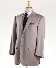 New Imperfect Custom $4495 OXXFORD HIGHEST QUALITY Solid Beige Wool Suit 42 S