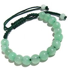 Lovely Adjustable 16 8mm Light Green Jade Beaded Amulet Bracelet w Gift Pouch