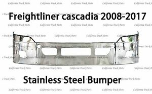 Freightliner Cascadia Chrome Stainless Steel Bumper With Foglight Hole 2008-2017