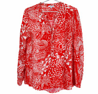 W Lane Womens Red/White Floral Long Sleeve 1/2 Button Blouse Size 14