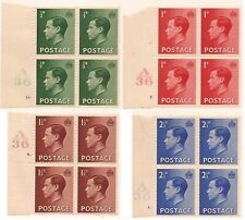 1936 SG457-460 EDVIII Set, A36 CNTL Blocks of 4, MNH