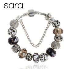 Sara Hearts Charm Bracelet Silver Plated European Glass Beads + Charms - Black