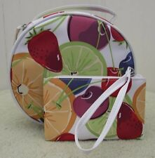 New 2 Pieces Clinique Fruity Cosmetic Makeup Bag Train Case w Handle + Small Bag