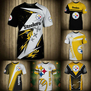 Pittsburgh Steelers Mens T-shirt Summer Casual Short Sleeve Tee Top Shirts S-5XL