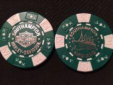 "Harley Poker Chip (Green & White) ""Southampton"" England Home Of The Titanic"