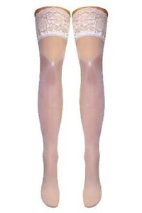 Luxurious Italian 5 Inch Deep Lace Top Hold Ups (White & Black) 2 Sizes M or M/L
