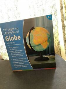 """LED Light Up WORLD GLOBE Map with For Kids Gift Educational 12"""""""