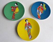New listing Pier I Imports 3 Stoneware Japanese Geisha Plates Dessert Appetizer Microwave