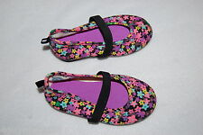 Baby Girls Shoes CANVAS BALLET FLATS Elast Strap BRIGHT NEON FLOWERS Size 2