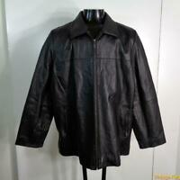 CHARLES KLEIN Soft LEATHER JACKET Mens Size XL black zippered