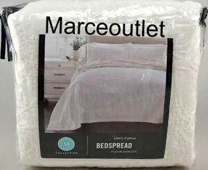 Martha Stewart Floral Matelasse Cotton FULL Bedspread White
