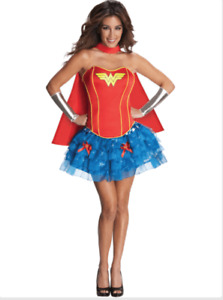 Secret Wishes WONDER WOMAN Fancy Dress Costume 4 Piece Outfit MEDIUM 10-12 - NEW