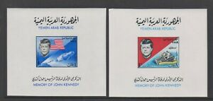 Yemen - 1965, President Kennedy, Space sheets x 2 - Imperf - MNH - SG MS346a