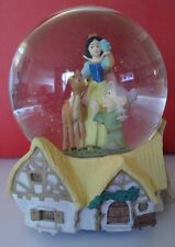 RARE Disney Snow White Vintage Dopey Bambi Cottage Snowglobe Music Box EASTER FS