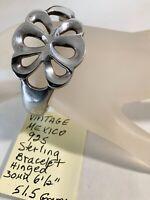 "Vintage Mexico 925 Sterling Hinged Bangle Bracelet 30mm 6 1/2"" 51.5 Grams"