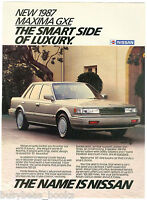 1987 NISSAN MAXIMA advertisement, Nissan Maxima GXE sedan