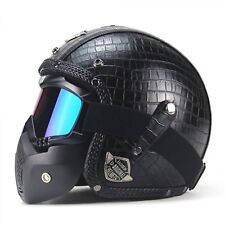 Helmet Motorcycle Leather Retro Vintage Open Face Mark Chopper Scooter Cruiser