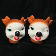 NEW Retro Kitsch Reindeer Deer Fawn Salt Pepper Shakers Christmas Michaels