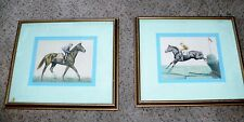 Vtg Original Mid Century Race Horse Picture Sketch Drawing Colored Pencil Framed