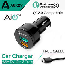 [Qualcomm 3.0] Aukey Quick Charge 3.0 34.5W 2 Ports USB Car Charger with cable
