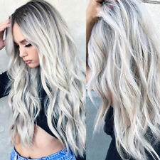 Long Synthetic Lace Front Wig Long Wavy Ombre Gray Silver Grey Full Hair Wigs US