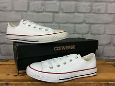 CONVERSE UK 2 EU 34 CHUCK TAYLOR  ALL STAR OX LEATHER WHITE TRAINERS CHILDRENS