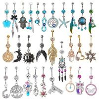 20G/14G Unique Dangle Belly Button Ring Lot Body Piercing Navel Barbell Jewelry
